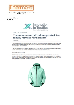'Innovation in Textiles'